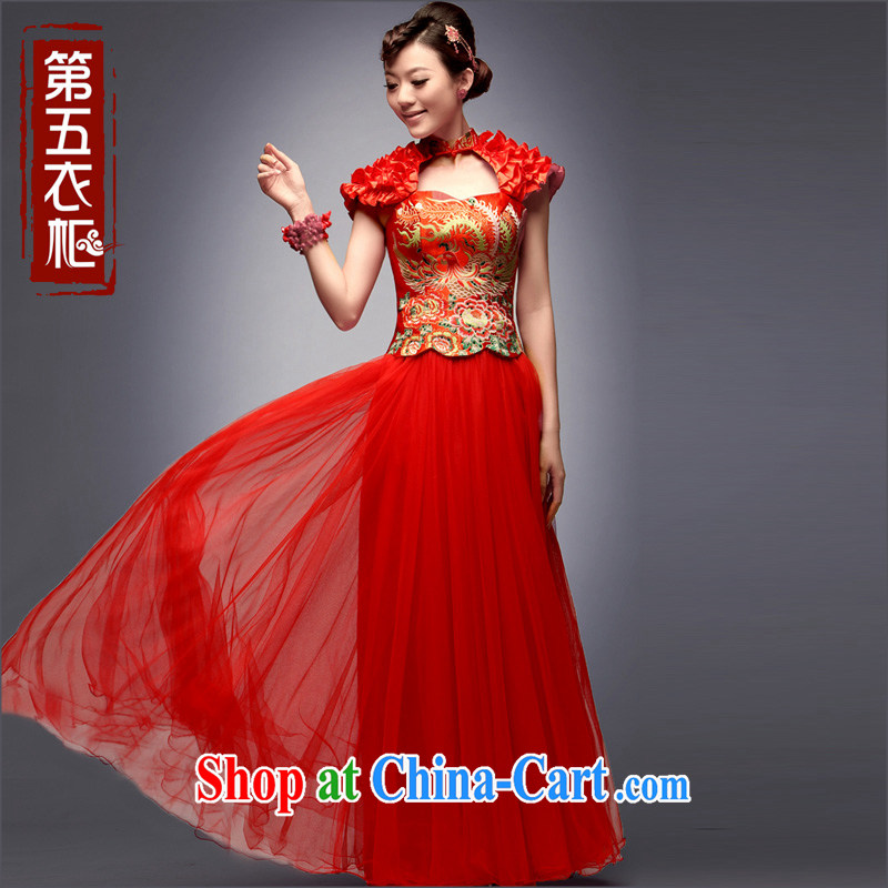 Dresses 2014 new autumn bridal cheongsam dress upscale Yun Jin retro wedding dresses long serving toast red L