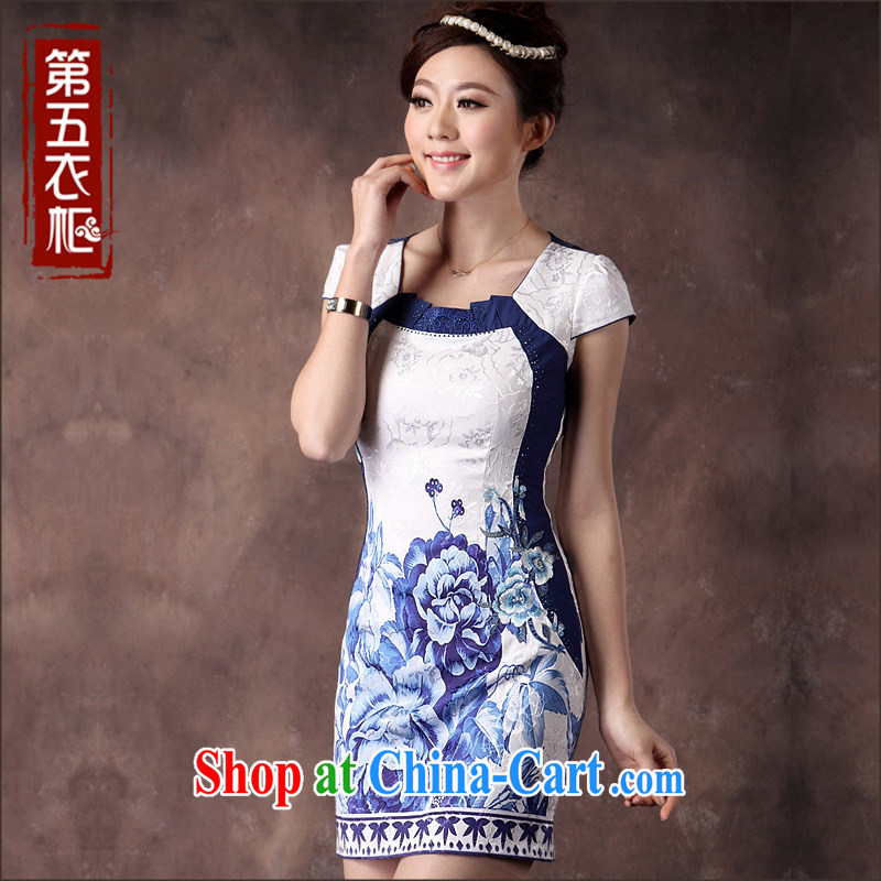 Dresses 2014 new cheongsam dress summer improved stylish classic blue and white porcelain sexy lace qipao white orchids XXXL