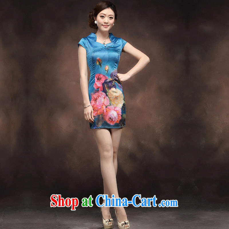 Dresses 2014 new cheongsam dress retro-tie elegant Chinese short beauty MOM dress blue XXL