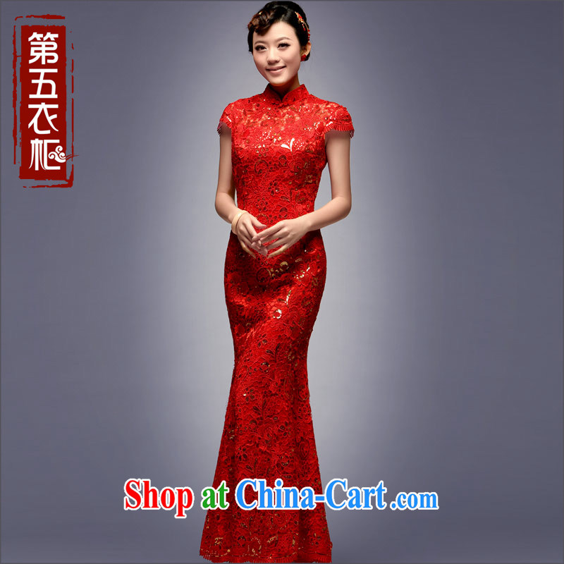 Dresses 2014 new autumn bridal dresses retro improved lace wedding dresses red bows clothes red L