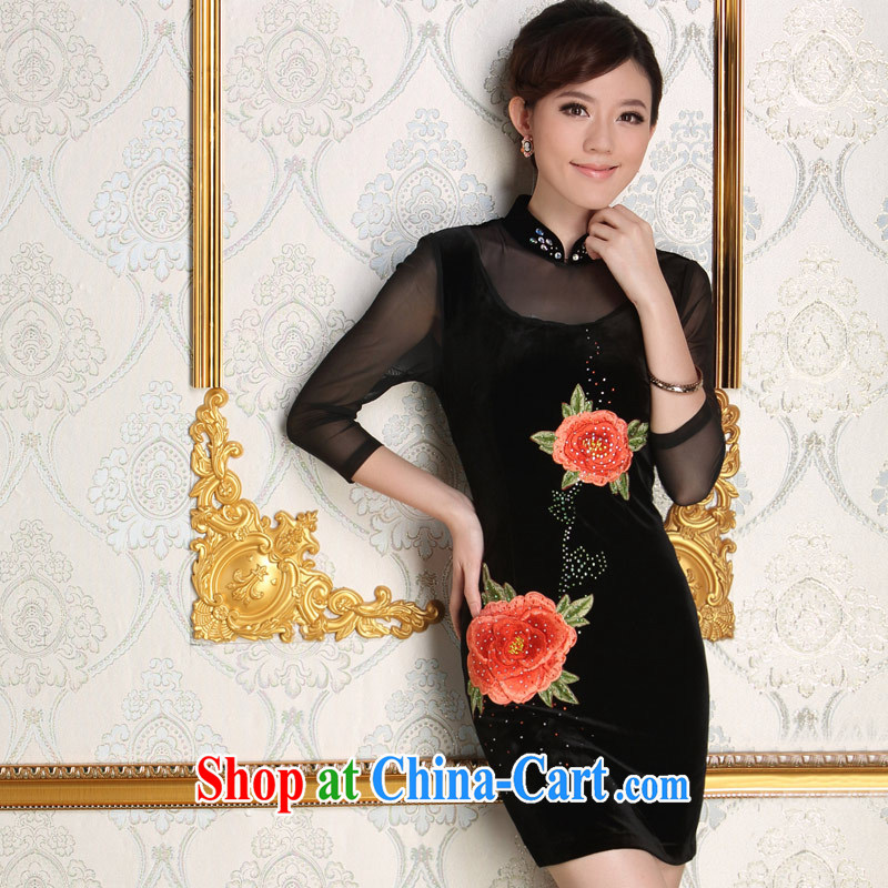 Dresses 2014 new paragraph in autumn older wool embroidered short, bridal wedding banquet mother dresses dress dress black L