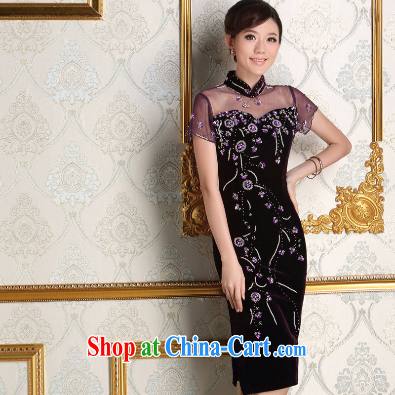 Dresses 2014 new autumn velvet dress improved long, the code in the marriage feast with mother dresses purple L