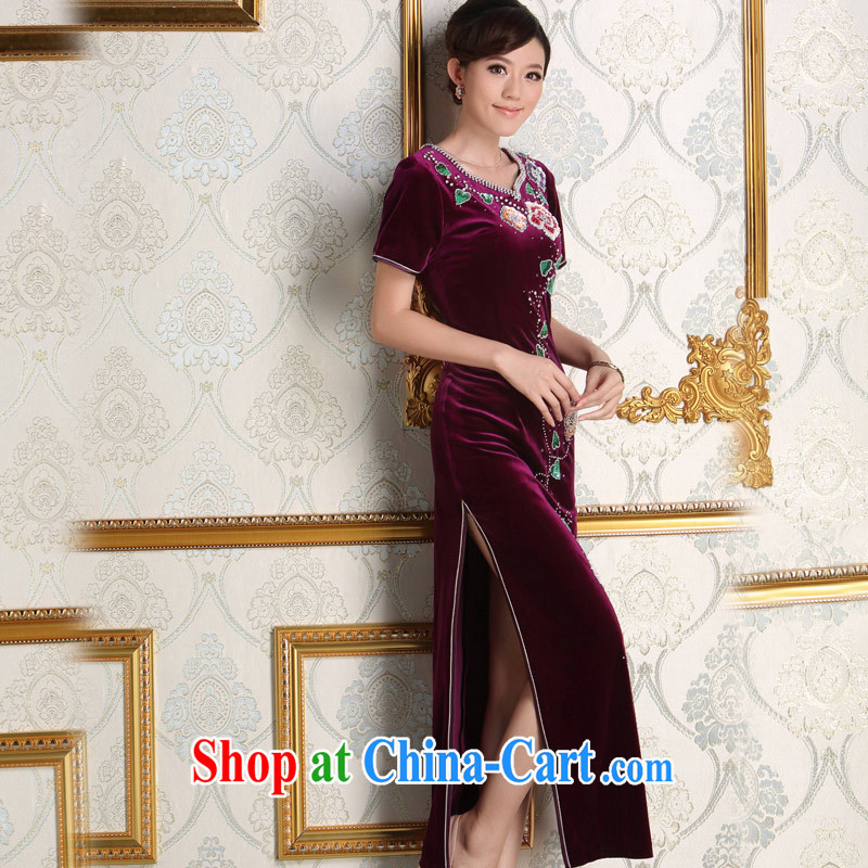 Dresses 2014 New Long, older dress purple the forklift truck bride's mother's wedding plush robes purple XL