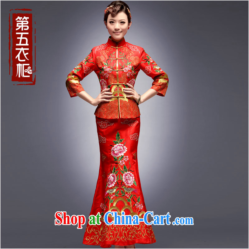 Dresses 2014 National wind beauty long dress up in drag and drop at Merlion Chinese Embroidery toast clothing cheongsam red S
