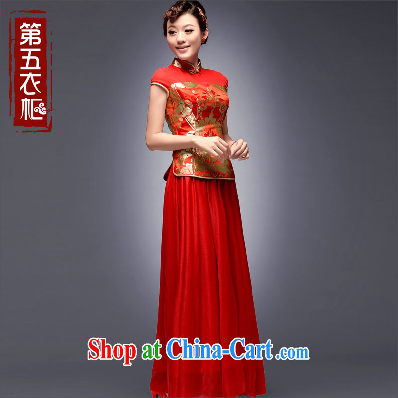 Dresses 2014 new autumn bridal cheongsam dress upscale retro improved stylish long bows beauty service red L