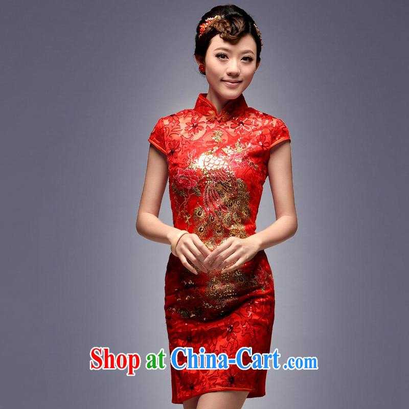 Dresses 2014 New red short bows clothes dress retro embroidery Phoenix beauty of ballet dresses red XXL