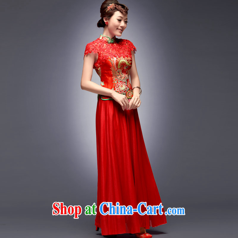 Dresses 2014 new lace Chinese Antique wedding dresses red split long marriage bridal gown dress red S