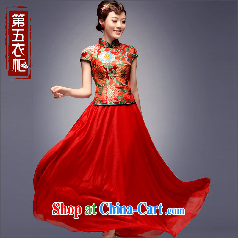 Dresses 2014 new autumn bridal retro red wedding dresses marriage long serving toast cheongsam red L