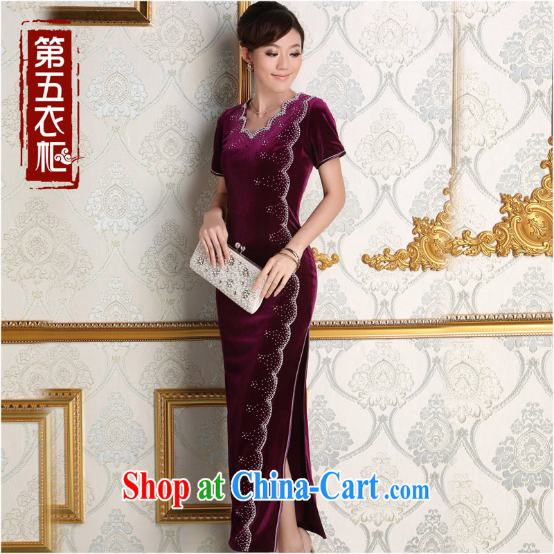 Dresses 2014 autumn bride's mother's wedding dress elegant purple long temperament velvet cheongsam dress purple XXL