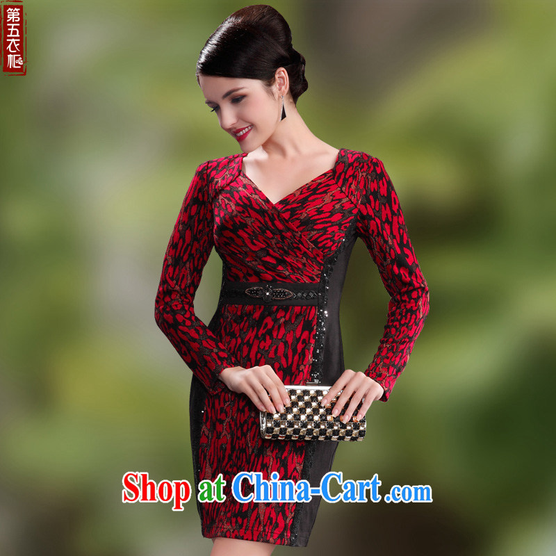 Dresses 2014 fall and winter with new wool long-sleeved video thin elderly mother wedding dresses dress maroon M