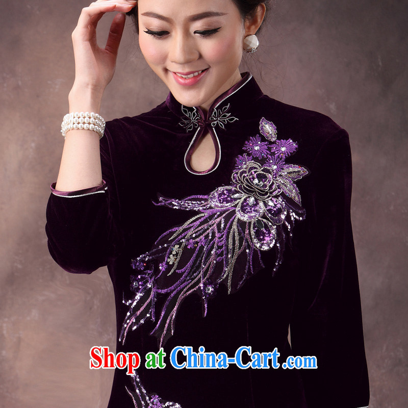 Dresses 2014 autumn new dresses wool retro fashion, Ms. Tang is the long-sleeved short dresses in purple cuff XL 4