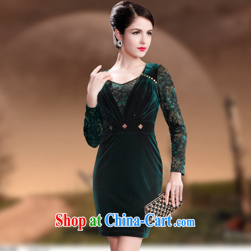 Dresses fall 2014 new long-sleeved in cultivating older mothers dresses wool staple Pearl series spelling dress dark green 4 XL