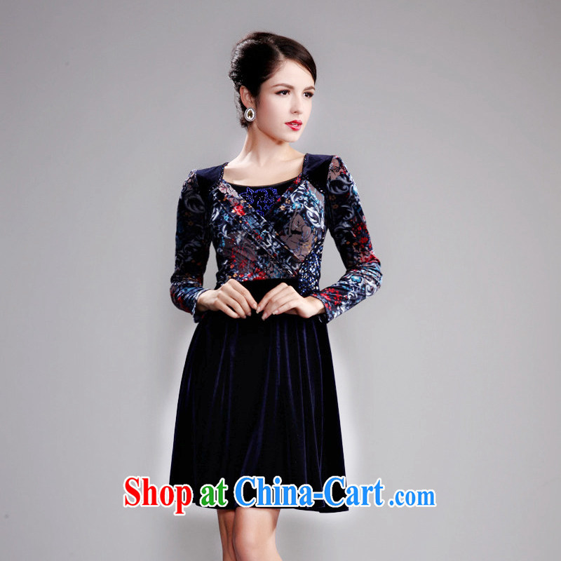 Dresses fall 2014 new lace long-sleeved beauty MOM dresses wool staple Pearl series spelling and skirt blue 4 XL