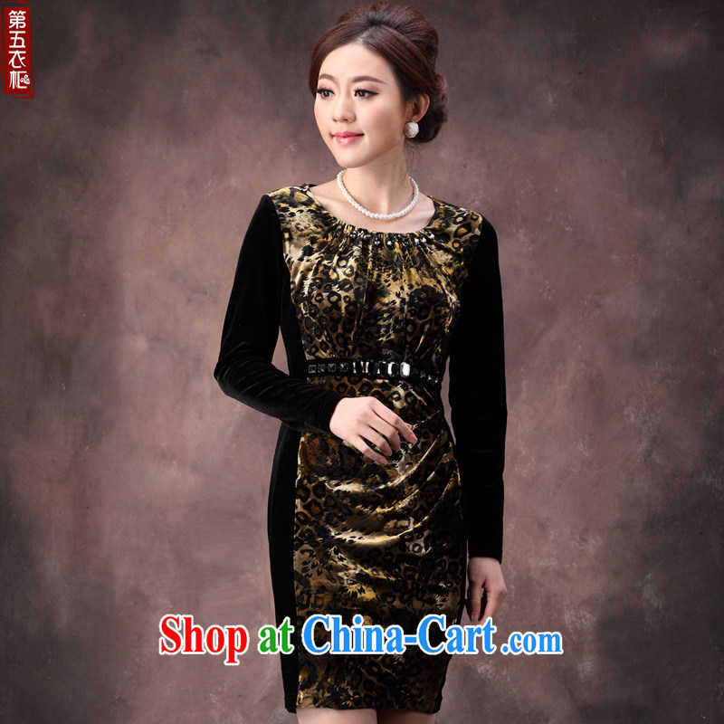 Dresses 2014 fall and winter load new gold velour long sleeved elegant beauty MOM outfit series spelling and skirt brown 4 XL
