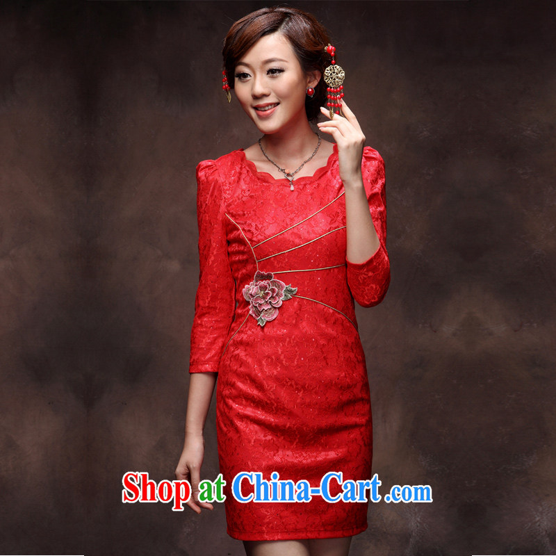 Dresses fall 2014 with new retro improved stylish wedding cheongsam dress bridal red bows dress black XXL