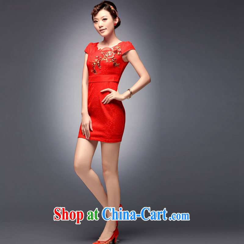 Dresses fall 2014 the bridal dresses stylish new toast serving red lace short wedding dresses red L