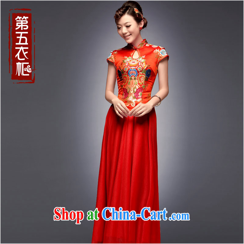 Dresses fall 2014 new tray snap embroidery antique dress long red stylish marriage improved cheongsam dress red S