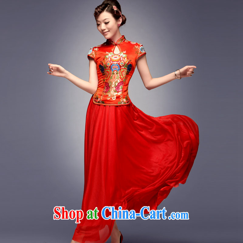 Dresses fall 2014 new tray snap embroidery antique dresses, long red stylish marriage improved cheongsam dress red S, music, and shopping on the Internet