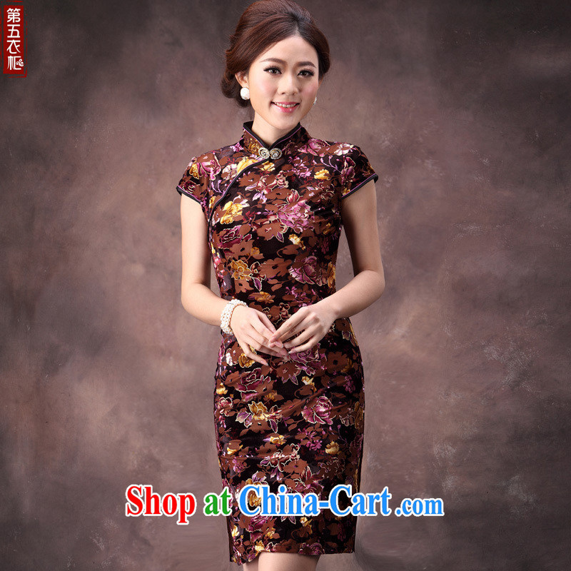 Velvet cheongsam qipao autumn, summer 2014 improved round-collar name Yuan mother banquet even short skirts as fancy dress XXXL