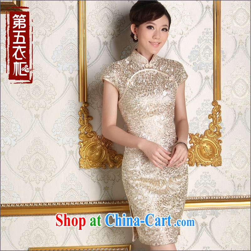 Dresses fall 2014 new short retro improved stylish bridesmaid dresses toast with sister married Kim dresses apricot XXL