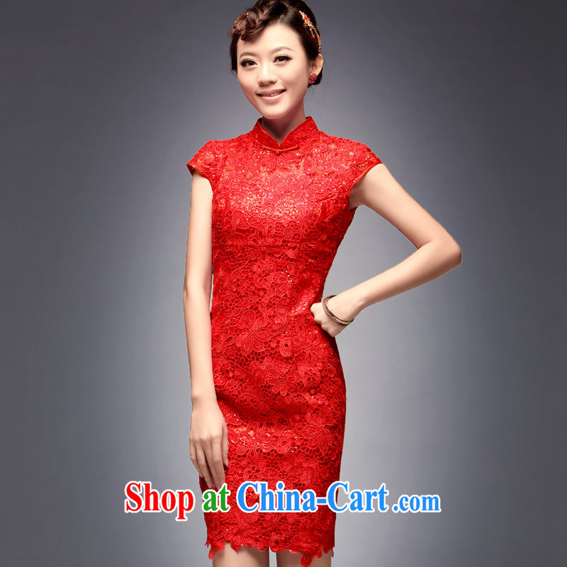 Dresses fall 2014 the bridal gown new toast serving short retro improved stylish wedding dresses red L, music, and shopping on the Internet