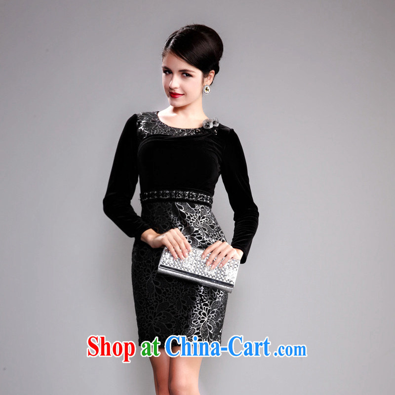 Dresses fall 2014 with retro improved stylish gold velour stitching long-sleeved beauty mother married cheongsam silver XL