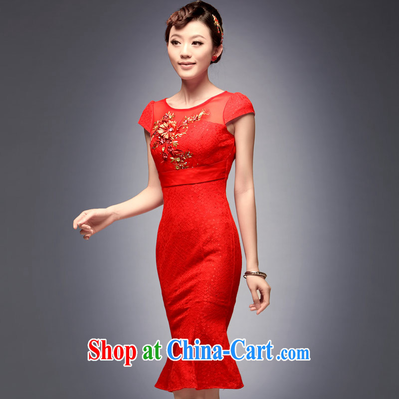 Dresses 2014 Lace Embroidery, long dresses, Beauty video thin crowsfoot red wedding toast clothing cheongsam red M
