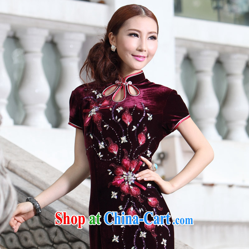 Velvet cheongsam cheongsam long, Autumn with new high quality embroidery wedding MOM replace dresses dress skirt Uhlans on 4 XL