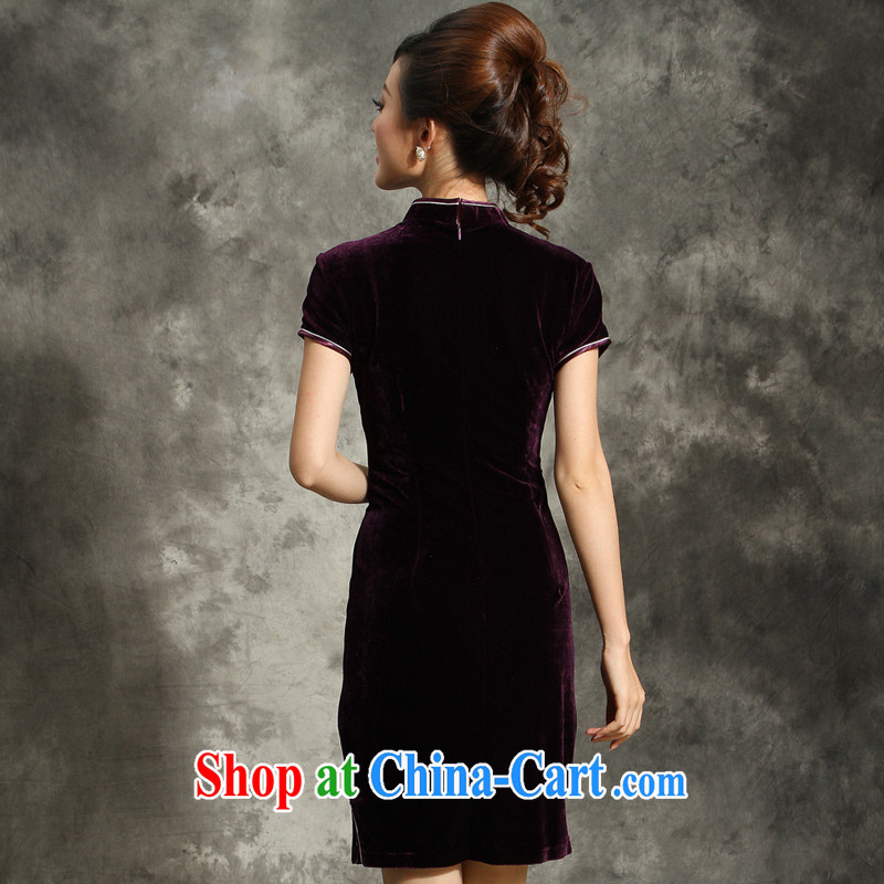 Velvet cheongsam qipao 2014 summer, older XL wedding mom is short, festive dress purple L