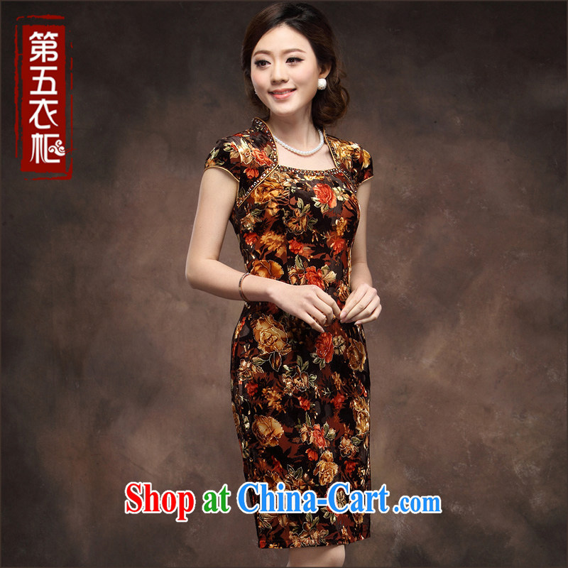 Velvet cheongsam cheongsam dress short-sleeved larger flexibility in Chinese elderly mother wedding red orange dress skirt orange spend 4 XL