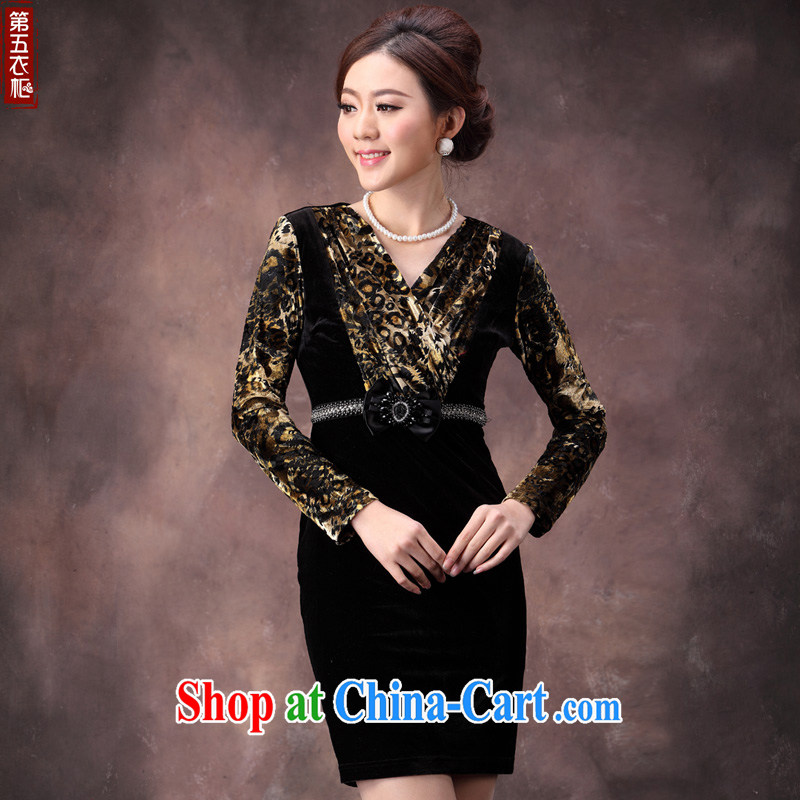 traditional costumes fall 2014 with new, improved antique style gold velour stitching long-sleeved beauty MOM dresses brown 4 XL