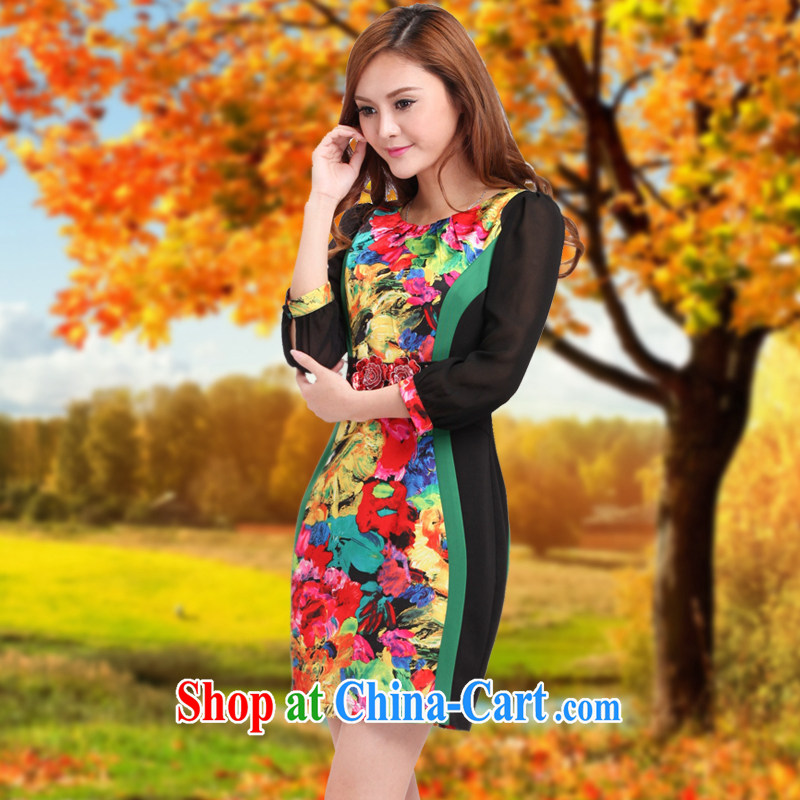 Dresses fall 2014 the new lace cuff in cultivating graphics thin cheongsam improved stylish spell back dress 7 Rainbow XL