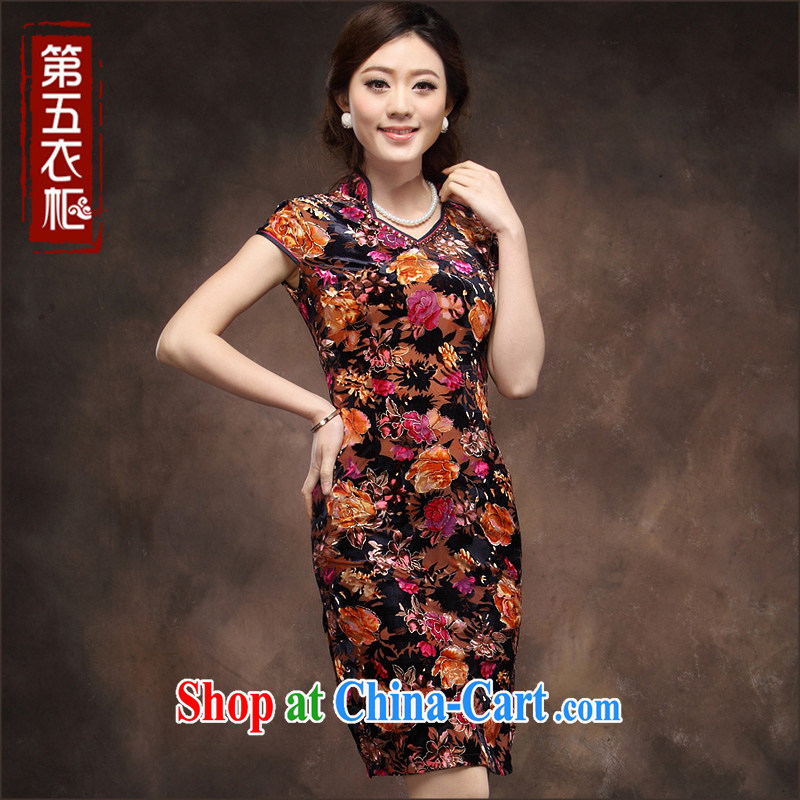 Velvet cheongsam dresses new 2014 summer short sleeve trendy, Retro MOM wedding dresses with purple orange spend 4 XL
