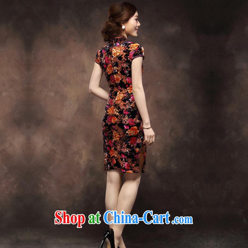 Velvet cheongsam dresses new 2014 summer short-sleeved trendy, Retro MOM wedding dresses with purple orange spend 4 XL, fun, and shopping on the Internet