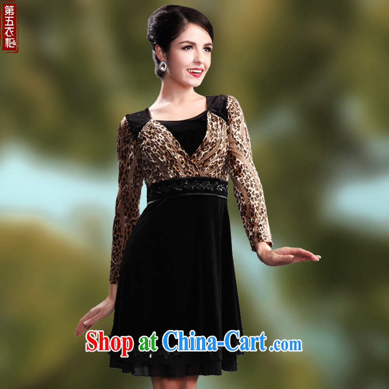 Dresses fall 2014 Leopard long-sleeved in cultivating older mothers dresses wool staple Pearl series spelling and skirt brown 4 XL