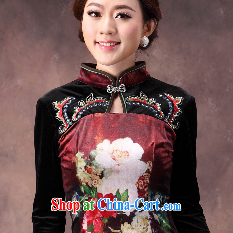 Velvet cheongsam qipao autumn 2014 new female Chinese Antique large code mom long-sleeved fashion Dress Suit XXXL