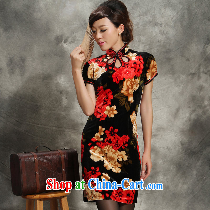 Velvet cheongsam cheongsam dress 2014 new paragraph I Short Name Yuan wedding larger mother load dresses saffron 4 XL