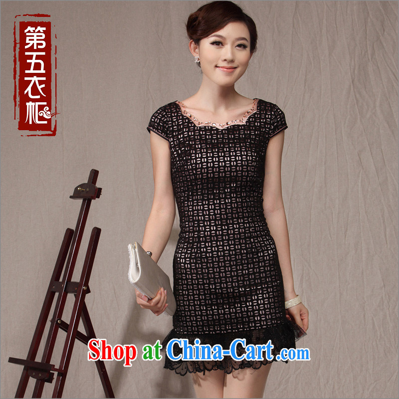 Dresses beauty graphics thin sexy Chinese Dress dress 2014 New Women Fashion improved daily cheongsam dress black XXL