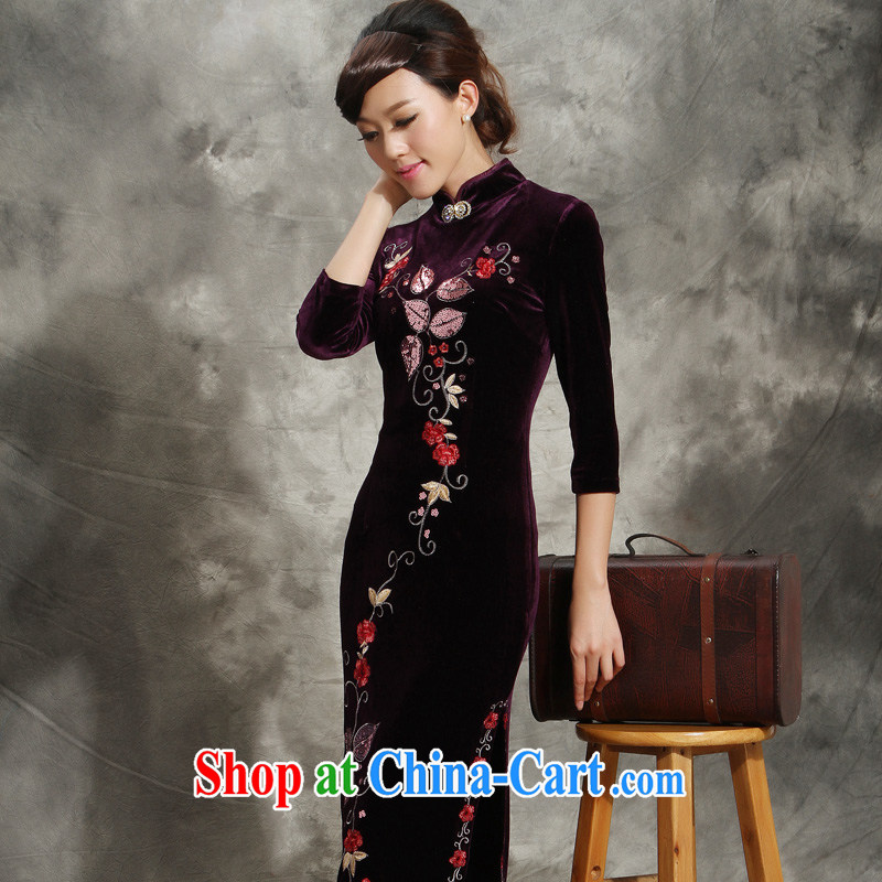 Velvet cheongsam cheongsam dress in long-sleeved older purple Tang with long marriage mother dresses purple skirt XXXL