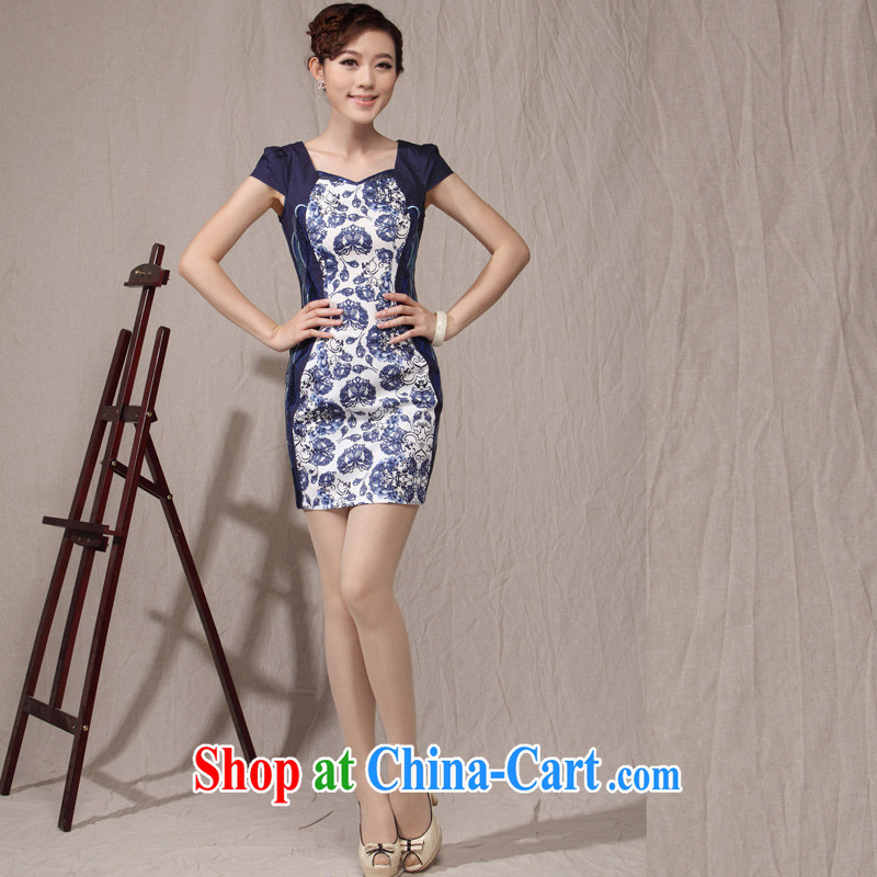 cheongsam beauty style embroidery Chinese Antique gowns, 2014 new daily lady cheongsam dress blue and white porcelain XXL