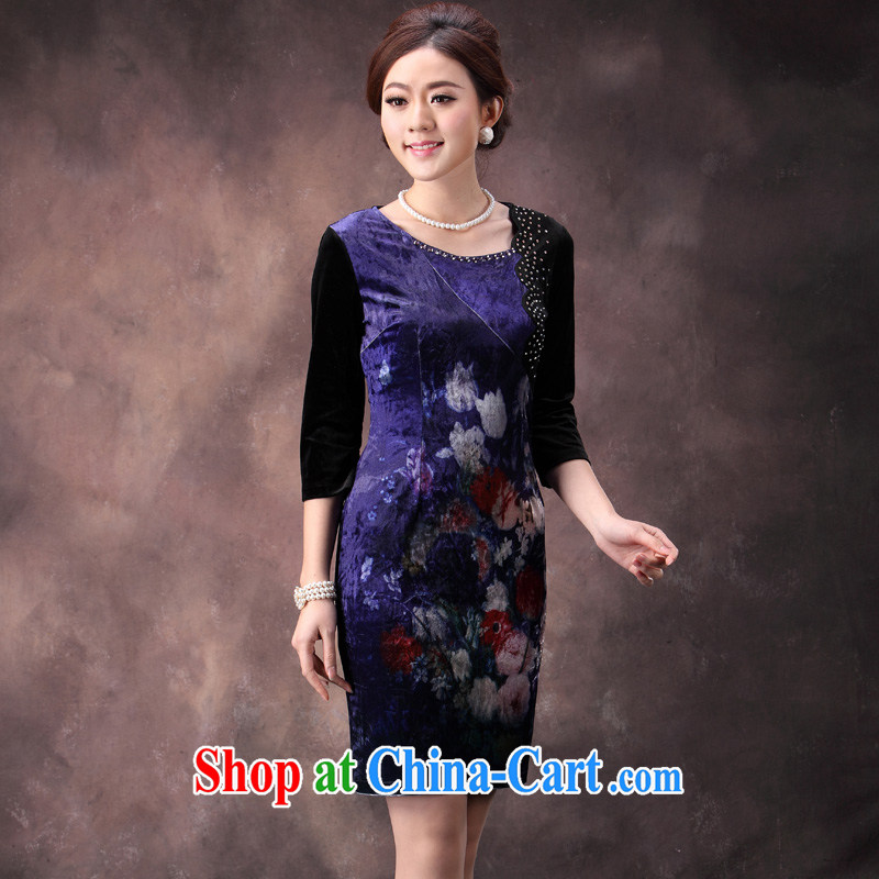 Velvet cheongsam cheongsam long-sleeved 2014 new autumn fashion mother larger cuff in short wedding dress suit XXXL