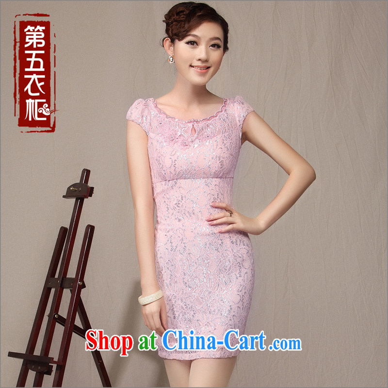 Cultivating cheongsam style lace sexy qipao 2014 new stylish improved female Chinese cheongsam dress purple toner XXL
