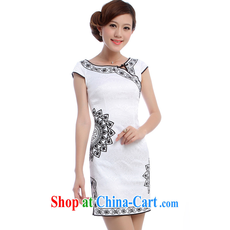 2014 new dresses summer no short-sleeved short black embroidered white sexy cheongsam dress K 5927 white XXL