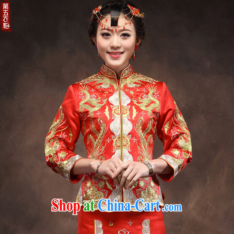 Classical Chinese classical beauty wedding dresses gold and silver thread use phoenix dress and red hand use Pearl bows after serving red XXL