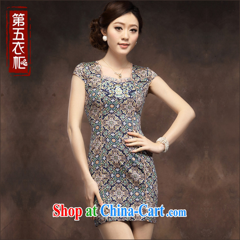 2014 new cheongsam dress retro Ethnic Wind and stylish floral beauty short Chinese floral Ki robe skirt blue flower XXXL