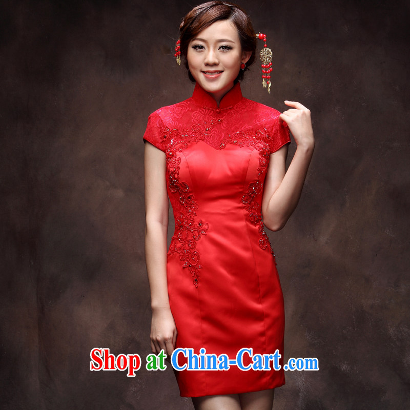 2014 new toast clothing dresses wedding dresses short red aura lady Chinese brides with red qipao M