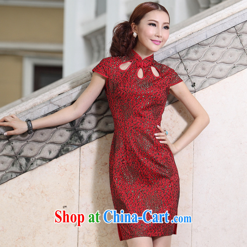Chinese cheongsam dress summer wedding dresses MOM 2014 new, lace retro festive wedding dress red 4 XL