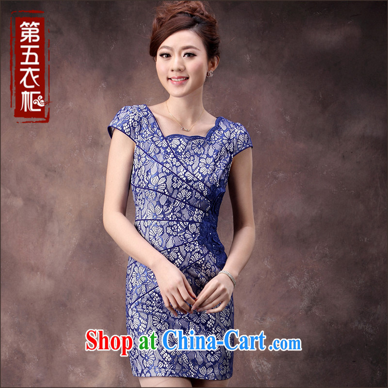 2014 new cheongsam dress summer blue and white porcelain Lace Embroidery beauty and elegant ladies everyday dress skirt blue XXXL