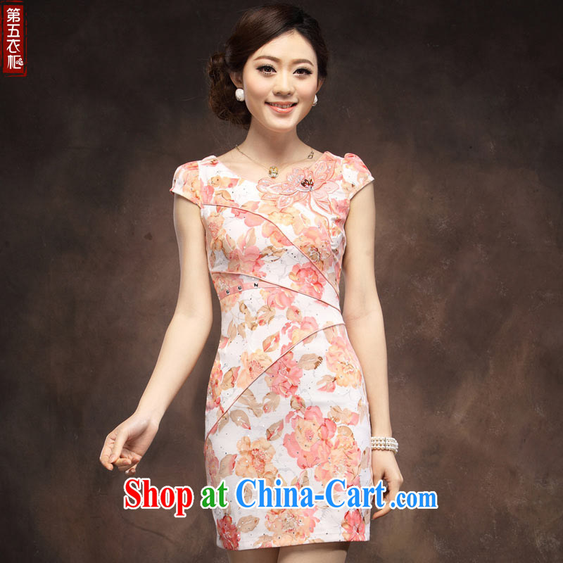 201 new paragraph 4 cheongsam dress summer stylish improved sexy short beauty embroidery girls daily qipao orange toner XXL