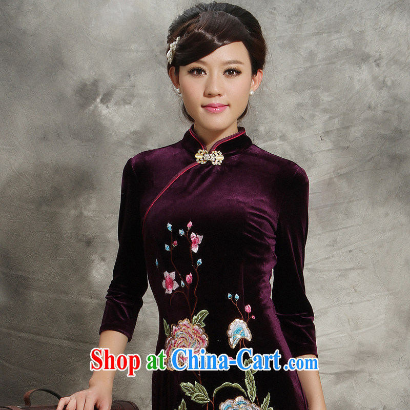 Velvet dresses 2014 new in beauty cuff stretch purple standard embroidery mother Chinese wedding dress purple M